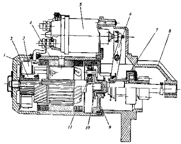 Электростартер с дополнительным встроенным редуктором