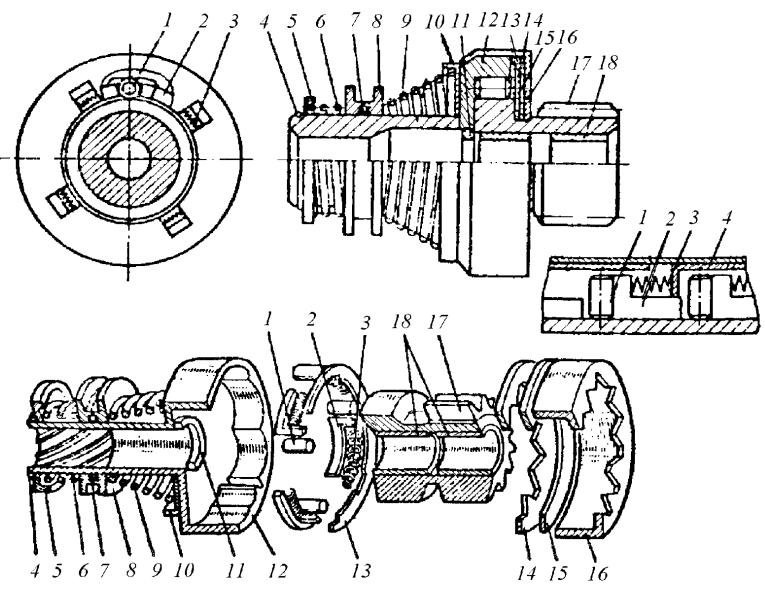 Бесплунжерная четырехроликовая муфта свободного хода и детали приводного механизма