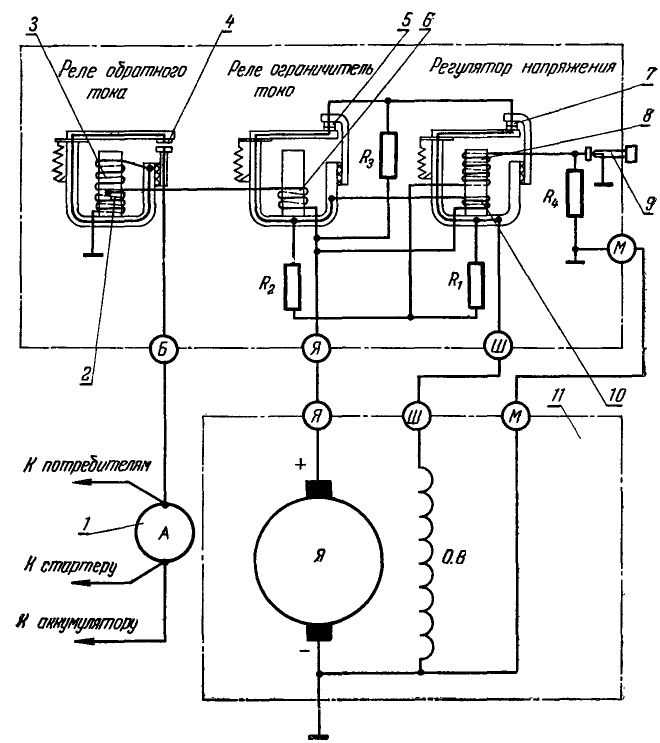 Схема реле-регулятора генератора трактора ДТ-20
