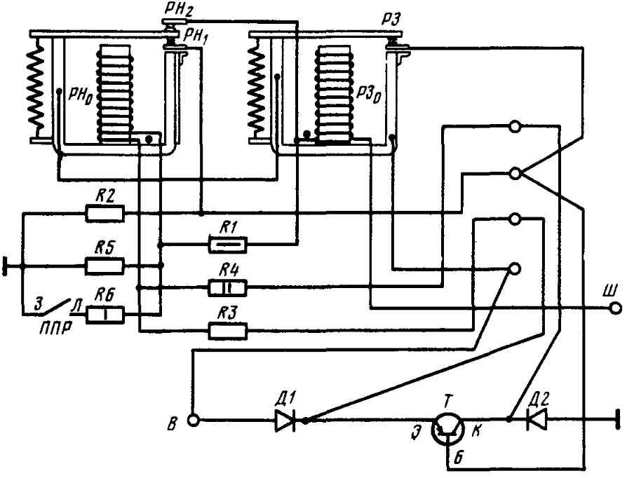 Схема электрическая реле-регулятора РР362-Б