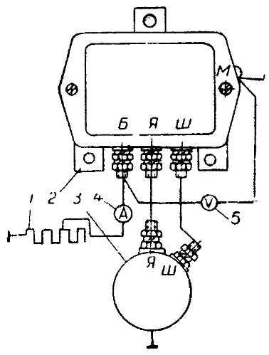 Схема проверки регулятора напряжения и ограничителя тока