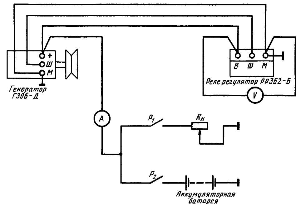 Схема проверки регулятора напряжения на стенде (тракторе)