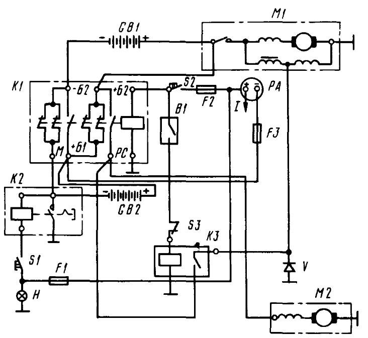 Электрическая схема включения стартера трактора К-701
