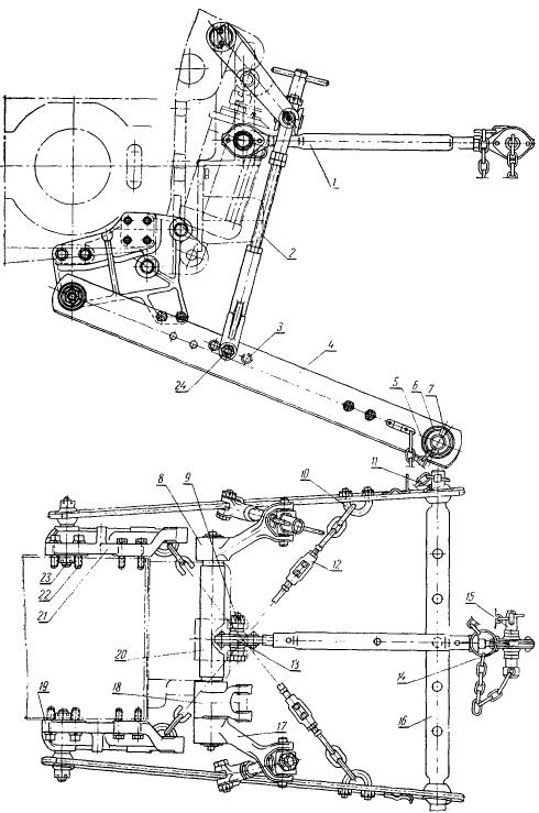 Трактор ДТ-20. Механизм для навешивания машин и орудий