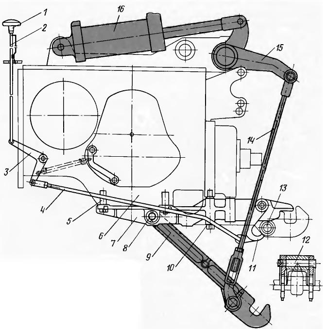 МТЗ-100, МТЗ-102. Гидрофицированный прицепной крюк