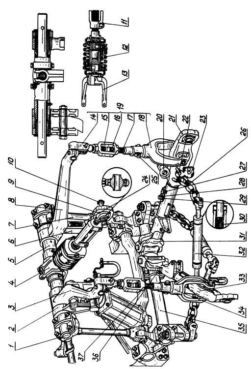 Трактор ДТ-75М. Механизм навески