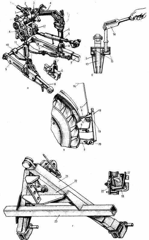 Механизм навески трактора средней мощности