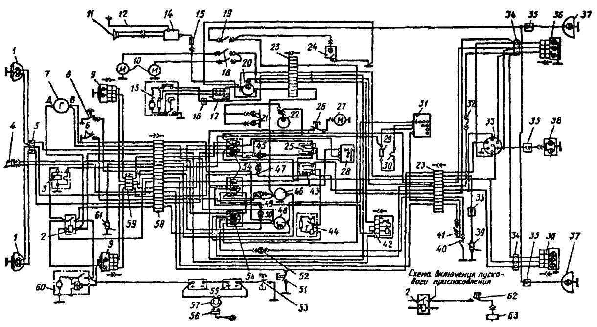 Принципиальная схема электрооборудования трактора