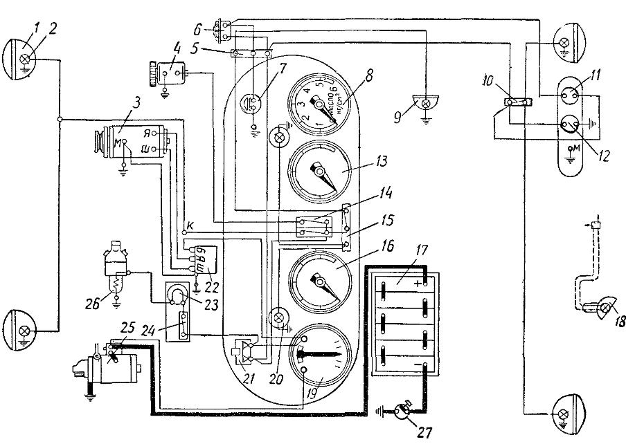 Схема электрооборудования трактора Т-74