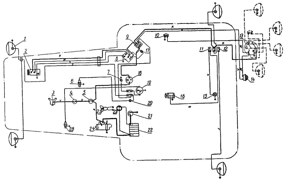 Схема электрооборудования трактора ДТ-75