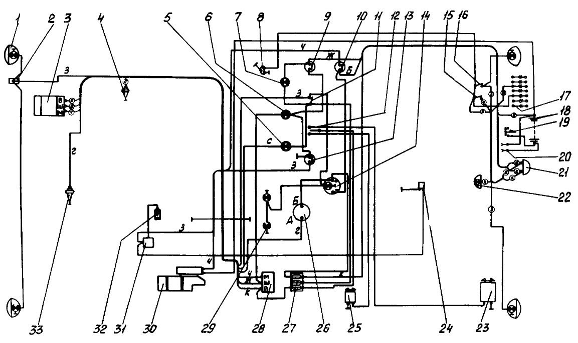 Схема электрооборудования трактора ДТ-75Н