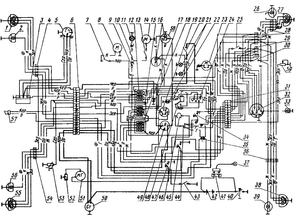 Схема электрооборудования тракторов МТЗ-80Л и MT3-82Л