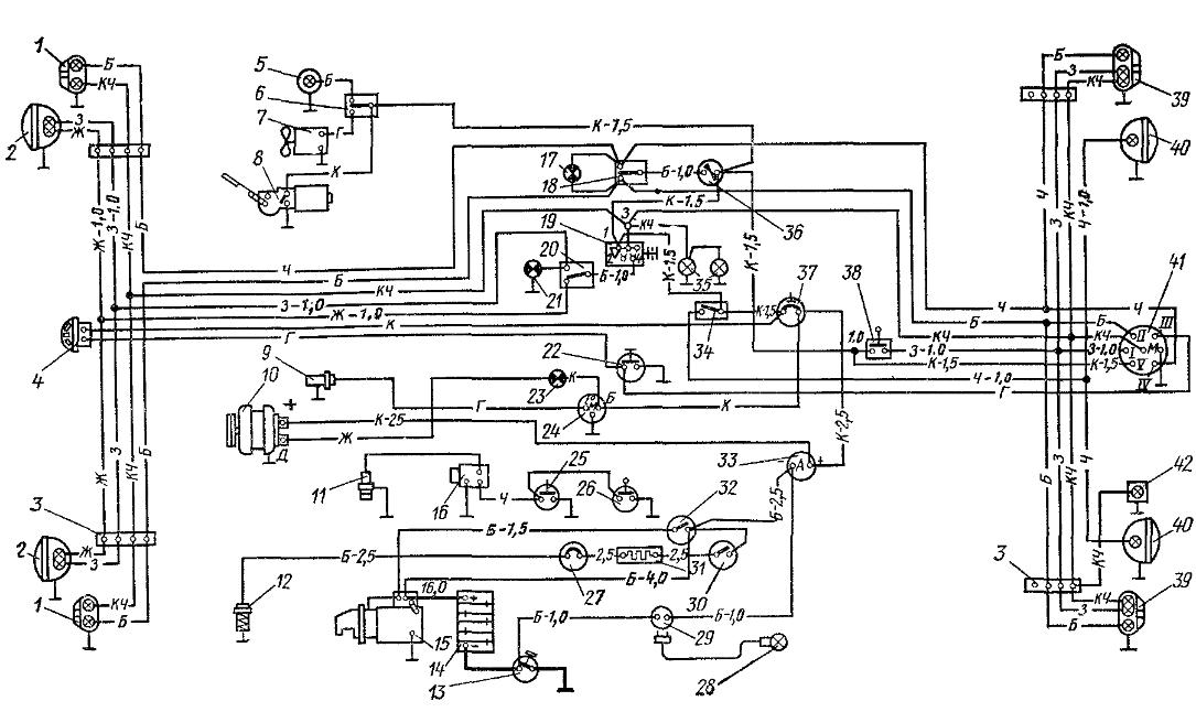 Схема электрооборудования трактора с пусковым агрегатом