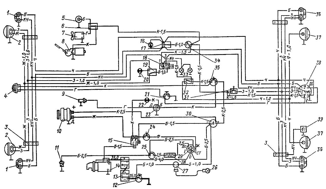 Схема электрооборудования трактора со стартером