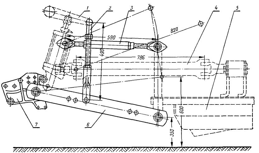 Схема навешивания косилки КЗН-2,1 на трактор Т-25