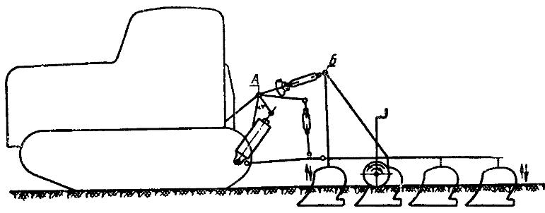 Трактор ДТ-75. Схема регулировки равномерности заглубления навесных орудий