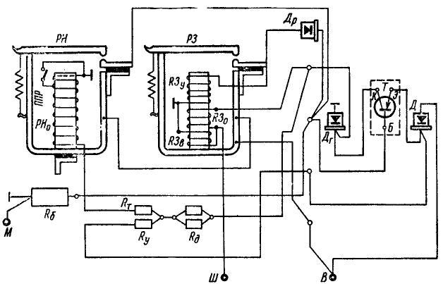 Полумонтажная схема реле-регулятора РР362-Б