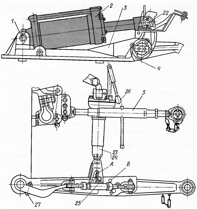МТЗ-100, МТЗ-102. Заднее навесное устройство (вид сбоку)